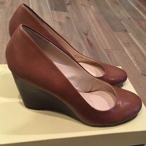 Franco Sarto Helio Cognac Leather Heeled Wedges